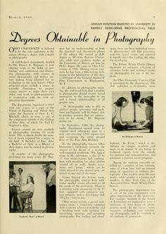 "The Ohio Alumnus, March 1946. ""Degrees Obtainable in Photography.""  :: Ohio University Archives"