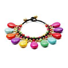 Turquoise Handmade Bracelet Multicolor Teardrop Charm Bracelet