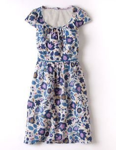 Lovely Linen Dress in blue trailing floral - Boden Day Dresses, Blue Dresses, Summer Dresses, Boden Clothing, Amanda, Gamine Style, Classy Casual, Costume, Retro Dress