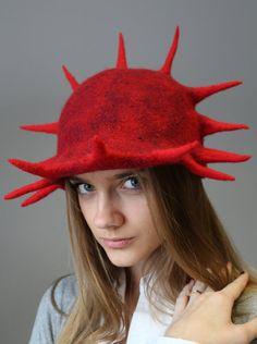 """Felt hat - cap """"Red Freedom"""" €49,00 EUR"""
