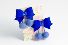 Set of 2 no slip girls hair clips - royal blue felt bows with dangling pom poms by BunnynBlossom on Etsy