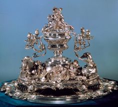 Huge silver centerpiece celebrating the hunt ~ begun by Thomas Germain in 1730 and completed by his son (National Museum of Ancient Art, Lisbon) [1st of two pins]