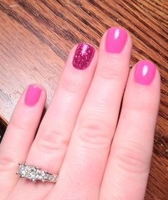 Pink Gel Nails with ring finger sparkle :)