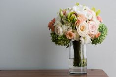 Ivory, Peach and Light Green Bouquet