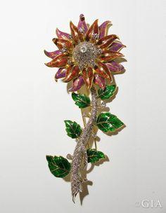 Flower enamel brooch with 5.95-tcw of diamonds. Courtesy of Novelty Jewellers