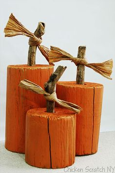 pumpkins made from fence post - Google Search