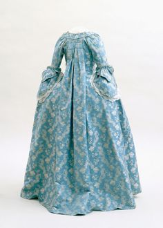 Robe à la française: ca. 1760, silk damask with silk supplementary weft.