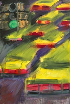 Rainer Fetting (German, b. 19490, Cabs, 1991. Oil on jute, 226 x 153 cm.