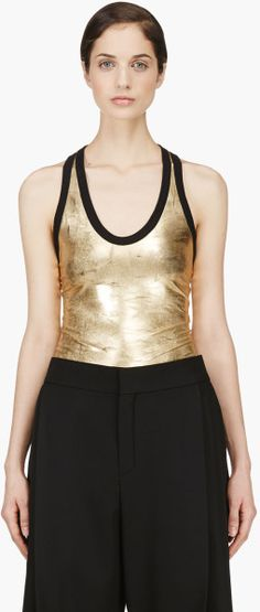 Denis Gagnon Gold Lam Scratched Tank Top in Gold - Lyst Gold Lame, Basic Tank Top, Athletic Tank Tops, Metallic Gold, My Style, Designers, Shopping, Collection, Women