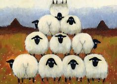 Whimsical Sheep Painting by Thomas Joseph