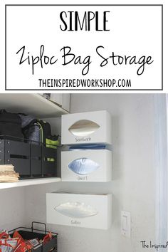 This DIY ziploc bag storage organizer is the solution to all those pesky baggie boxes that fall to the floor or take up space in your kitchen drawers and cabinets! Make them in a few hours and have all the organization you need! Make 3 or make 6, it's easily customizable to your needs. #diypantrysolution #diybaggiestorage #kitchenorganization via @theinspiredworkshop