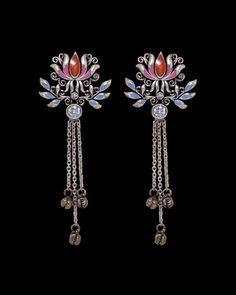 Earrings: Artistic Drop Earrings With Floral Motifs