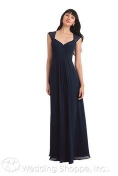 A long chiffon bridesmaid dress with cap sleeves and an illusion back | Bill Levkoff 1124 | The Wedding Shoppe