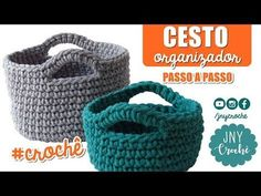 Cesto organizador de crochê - JNY Crochê - YouTube Loom Knitting Projects, Knitting Videos, Crochet Videos, Knitting Yarn, Crochet Projects, Crochet Hooded Scarf, Crochet Coat, Crochet Designs, Crochet Patterns