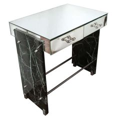 A phenomenal Art Deco vanity/ desk by Adnet combines a two-drawer mirrored top with glass handles, flanked each side by two slabs of solid veined dark green marble and bound together with steel rods sitting on steel feet. Mirrored Vanity Desk, Mirrored Furniture, Art Deco Furniture, Mirror Desk, Square Glass Coffee Table, Coffee Tables, Art Deco Vanity, Art Deco Decor, Modern Vanity