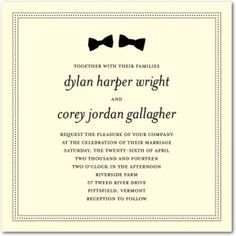 Bowtie Gay Wedding Invitations Pack of 25 Additional add ons