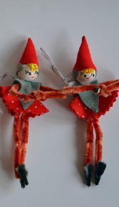 """Vintahe """"Made in Japan"""" chenille and felt Christmas elves."""