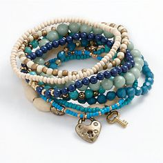Mudd Gold- Tone Bead Stretch Bracelet Set --- I can see wearing this with water colored outfits! What Summer FUN! Boho Jewelry, Beaded Jewelry, Handmade Jewelry, Jewelry Design, Fashion Jewelry, Wooden Jewelry, Bridal Jewelry, Jewellery, Memory Wire Bracelets
