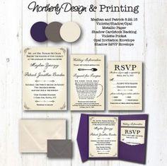 Pocket Wedding Invitation Purple and Ivory