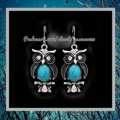 NEW LISTING  Tibetan silver plated owl earrings with turquoise stones. NEW 2 pairs available Jewelry