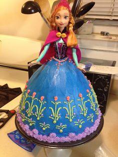 Anna Doll Frozen Birthday Cake