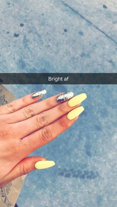 Yellow coffin nails with gold glitter