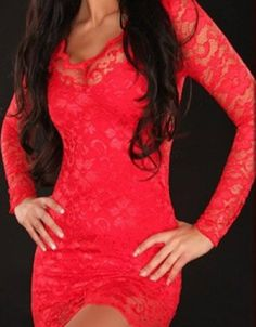 Stunning Red Lace dress www.nazar-fashion.com