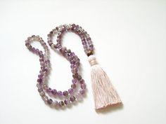 Purple amethyst 108 mala prayer tassel necklace by Aella Jewelry on Etsy Ethnic Jewelry, Unique Jewelry, Beaded Tassel Necklace, Purple Amethyst, Stone Necklace, Tassels, Prayers, Fashion Jewelry, Necklaces