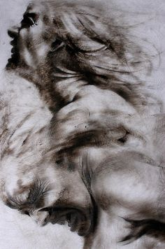 """Clara Lieu, """"Emerge No. 2(detail)"""", etching ink & lithographic crayon on Dura-Lar, 7' x 4', 2014. MC: my people, my country."""