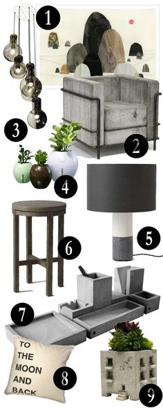 Concrete Jungle! How to decorate with concrete, as a neutral, in the brutal style. Via The Walkup.