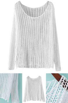 White Sheer Lightweight Long Sleeve Knit Sweater