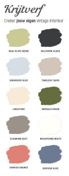 Creëer jouw eigen #vintage interieur in een van deze prachtige kleuren door muur, meubel of accessoire te schilderen. Welke kleur is jouw favoriet?