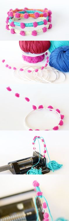 pompon bracelet ideas