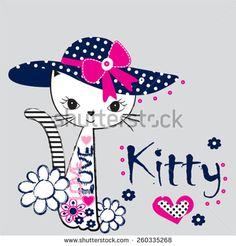 Find Fashionable Cat Tshirt Design Vector Illustration stock images in HD and millions of other royalty-free stock photos, illustrations and vectors in the Shutterstock collection. Patch Aplique, Image Notes, Applique Designs, Cartoon Drawings, Cat Art, Cute Wallpapers, Illustration, Hello Kitty, Artwork