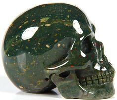 Bloodstone Carved Crystal Skull by Skullis