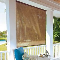 Ideal for patio enclosures, sun rooms, or outdoor use, these roll-up solar shades add privacy but let cooling breezes through. The weather-resistant window shades hang inside or outside. Pergola Plans, Pergola Kits, Pergola Ideas, Cheap Pergola, Diy Pergola, Patio Ideas, Outdoor Shade, Pergola Shade, Porch Shades