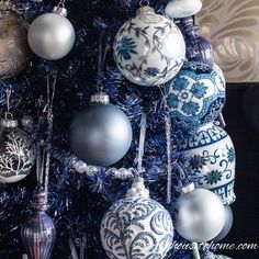 Beautiful Blue Christmas Tree Decorations (and 20+ Other Christmas Tree Decorating Ideas) #fromhousetohome #bluechristmas #blueandwhite #christmasdecoratingideas #christmastree #bluechristmasdecor Blue Christmas Tree Decorations, Creative Christmas Trees, White Christmas Ornaments, Fabric Christmas Trees, Purple Christmas, Beautiful Christmas Trees, Christmas Colors, Christmas Wreaths, Christmas Christmas