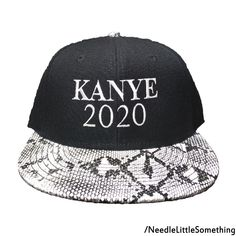 3a56df07ab2 KANYE 2020 Embroidered Snakeskin Flat Bill Hat Cap