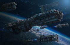 Spaceship Art, Spaceship Design, Fantasy Art Landscapes, Fantasy Landscape, Stargate, Starship Concept, Sci Fi Spaceships, Robot Concept Art, Robot Art