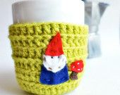 Gnome Funny Coffee Mug Tea Cup Cozy Chartreuse lime green spring crochet handmade cozy cover