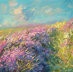 'Sunlit Heather, Higger Tor' by Mark Preston. Part of his two man exhibition with Rex Preston, opening at gallerytop on 3 October 2015