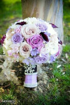 Beautiful Purple Bouquet by. Sentiments flowers and gifts Wedding planner: www. Purple Bouquets, Purple Wedding Flowers, Bride Bouquets, Bridal Flowers, Bridesmaid Bouquet, Floral Wedding, Wedding Colors, Flower Bouquets, Bouquet Wrap