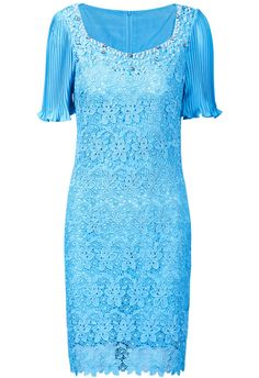 Blue Short Sleeve Bead Hollow Lace Dress $89.99