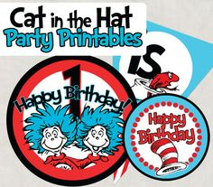 The Cat in the Hat party printables.  Perfect for your birthday boy or girl :)