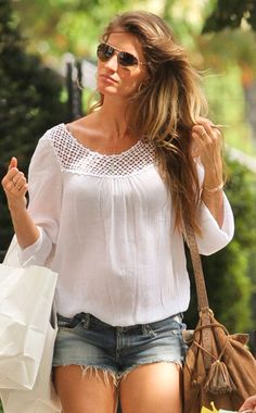 Gisele Bundchen is looking gorgeous in this top! Not just because shes a gorgeous woman and has the body to rock it, doesnt mean you cant! this shirt can flatter many figures!