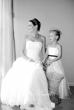 Bride & Flowergirl in Black & White White Weddings, Walking Down The Aisle, Looking For Love, My Favorite Image, Father Of The Bride, One Shoulder Wedding Dress, Groom, Marriage, Wedding Photography