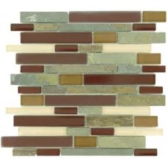 "Kitchen backsplash: Maroon Brown Random Bricks Glass and Slate ""Glossy, Frosted & Unpolished"" Tile"