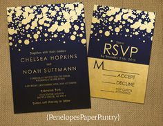 Navy and Gold Wedding Invitations, Modern Confetti Design (optional RSVP card)