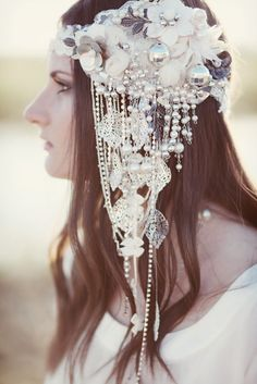 Except of the disco ball, i really like it! #Grecian Bridal Shoot Featuring A Stunning Handmade Headpiece