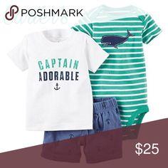 ✨Carter's Baby Boys Captain Adorable✨ ✨Carter's Baby Boys 3 Piece Tee, Bodysuit & Shorts Set Product Features Tee, bodysuit: 100% cotton rib; shorts: 100% cotton sheeting✨ Carter's Matching Sets